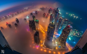 Картинка город, огни, туман, Дубаи, ОАЭ, панорамма