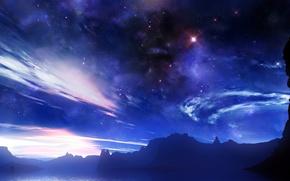Обои небо, космос, звезды, облака, огни, туман, сияние