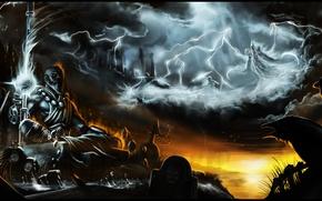 Картинка небо, облака, молния, ворона, diablo 3, monk, Malthael