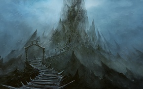 Картинка дорога, туман, Скалы, ворота, вершина, острые