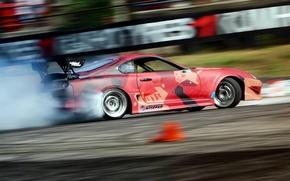 Картинка turbo, supra, drift, smoke, toyota, tuning, power, race, boost