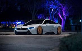 Картинка BMW, Front, White, Custom, Low, Wheels, Ligth, Rotiform