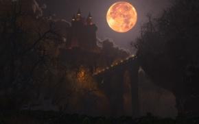 Картинка ночь, мост, огни, замок, луна, графика, digital, Happy Halloween, Dracul