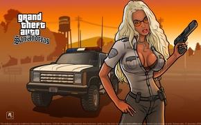 Картинка Девушка, Игра, Girl, Police, Wallpapers, GTA, Game, Обоя, Barbara, Grand Thef Auto:San Andreas, ГТА, Барбара, ...