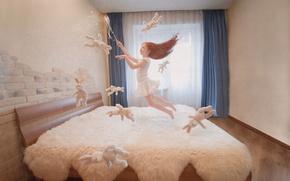 Картинка полет, волшебство, игрушки, девочка, постель, волшебная палочка