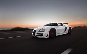 Обои grand, sport, roadster, вечер, дорога, bugatti, скорость, veyron
