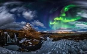 Картинка вулкан, гора, Kirkjufell, снег, водопад, северное сияние, панорама, ночь, Исландия, скалы, звезды, облака