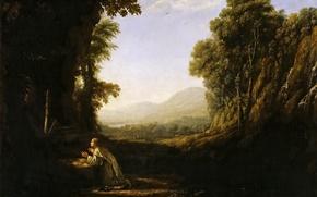 Обои картина, Клод Лоррен, Пейзаж с Монахом Ордена Мерсидариев