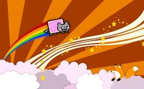 Картинка кот, облака, лиса, cat, веселье, nyan, nyan cat