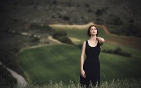 Картинка девушка, лицо, фон, платье