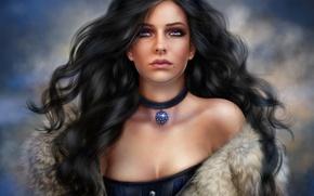 Картинка глаза, девушка, волосы, брюнетка, мех