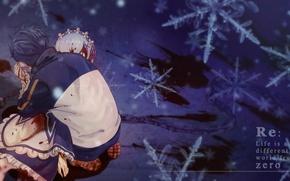 Картинка снежинки, кровь, аниме, арт, драма, Субару, Re: Zero kara Hajimeru Isekai Seikatsu, Рем