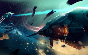 Картинка космос, корабли, сражение, космические
