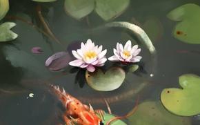 Картинка пруд, дракончик, кувшинки, by SalamanDra-S
