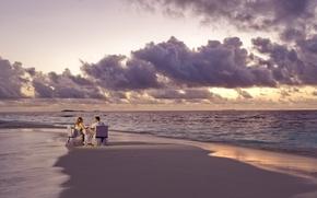 Картинка пляж, океан, романтика, вечер, двое, ужин
