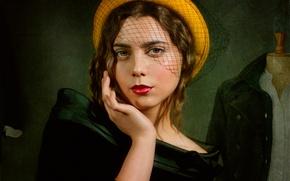 Картинка девушка, ретро, макияж, шляпка
