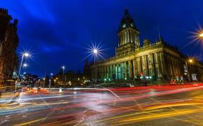 Картинка небо, огни, дом, улица, Англия, башня, вечер, купол, Лидс