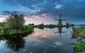 Картинка небо, облака, канал, Нидерланды, ветряная мельница