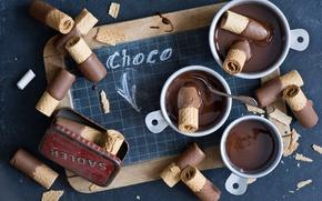 Обои шоколад, вафли, крошки
