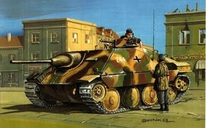 Картинка город, улица, рисунок, солдаты, разговор, установка, самоходная, артиллерийская, WW2, лёгкая, немецкая, Jagdpanzer, «Хетцер», планов, обсуждение