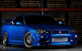 Картинка car, ниссан, blue, gt-r, r34, fast and furious, Nissan skyline