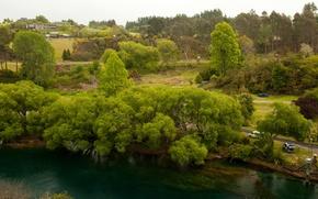 Картинка деревья, река, берег, дороги, дома, Новая Зеландия, Waikato River, Уаикато