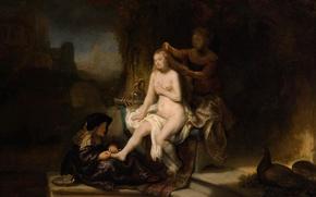 Картинка картина, жанровая, Рембрандт ван Рейн, мифолгия, Туалет Вирсавии