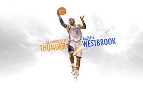 Картинка Рисунок, Белый, Баскетбол, Фон, Форма, NBA, Slam Dunk, Зависание, Оклахома, Thunder, Oklahoma City, Russell Westbrook