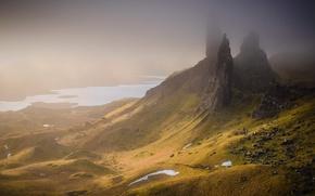 Картинка горы, туман, камни, скалы, холмы, долина, Шотландия, Великобритания, озёра