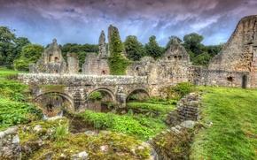 Картинка трава, облака, деревья, мост, камни, Англия, HDR, развалины, Fountains Abbey