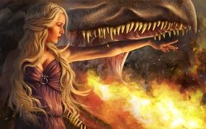 Картинка девушка, пламя, дракон, пасть, блондинка, Игра Престолов, Game of Thrones, Daenerys Targaryen