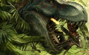 Картинка оружие, огонь, человек, робот, динозавр, зубы, рот, пасть, Голова, клыки, мужчина, киборг, выстрелы