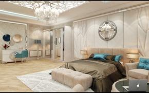 Картинка дизайн, комната, кровать, интерьер, кресло, зеркало, люстра, столик, спальня