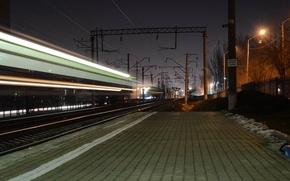 Картинка ночь, выдержка, железная дорога, Ростов-на-Дону, жд путь