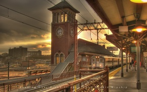 Обои часы, вокзал, поезд