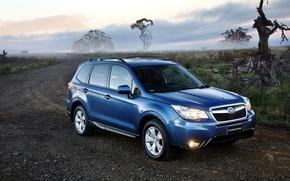 Картинка дорога, синий, фары, Subaru, субару, форестер, Forester, 2014