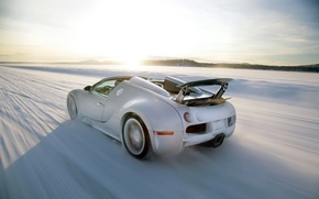 Обои bugatti, veyron, grand sport, roadster, supercar, speed, sun