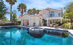 Картинка дом, пальмы, вилла, бассейн, шезлонги