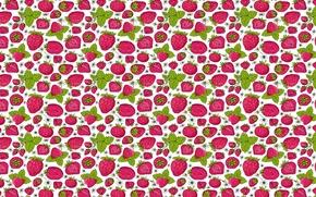 Обои рисунок, ягода, текстура, лето, клубника, листья