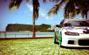 Картинка море, солнце, пальмы, тюнинг, белая, S15, Silvia, Nissan, white, ниссан, tuning, сильвия