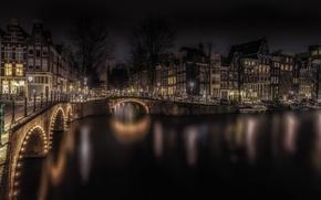 Картинка ночь, мост, огни, дома, Амстердам, Нидерланды
