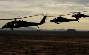 Обои Ah-64 apache, UH-60 Black Hawk, USA army