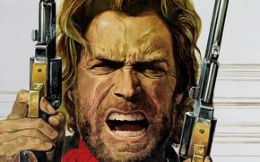 Картинка лицо, арт, револьвер, вестерн, Clint Eastwood, Клинт Иствуд, кольт, josey wales