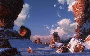 Картинка зима, камни, скалы, пустыня, каньон, digital, Desert dawn