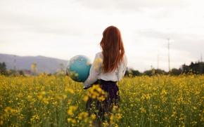 Картинка поле, девушка, глобус, рапс