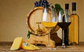 Картинка вино, красное, белое, кран, сыр, бокалы, виноград, бутылки, бочонок