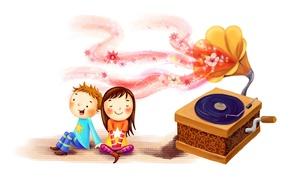 Картинка радость, дети, вместе, рисунок, мальчик, девочка, румянец, пластинка, граммофон, вихры