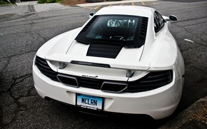 Картинка supercar, Mclaren, белый, дорога, суперкар, макларен, white, mp4, road, 12c, back