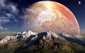Картинка небо, облака, горы, Планета