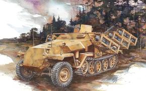 Картинка рисунок, Вторая мировая война, немецкий, средний, бронетранспортёр, Wurfrahmen 40, реактивной, установкой, оснащённый, Ausf C, пусковой, …